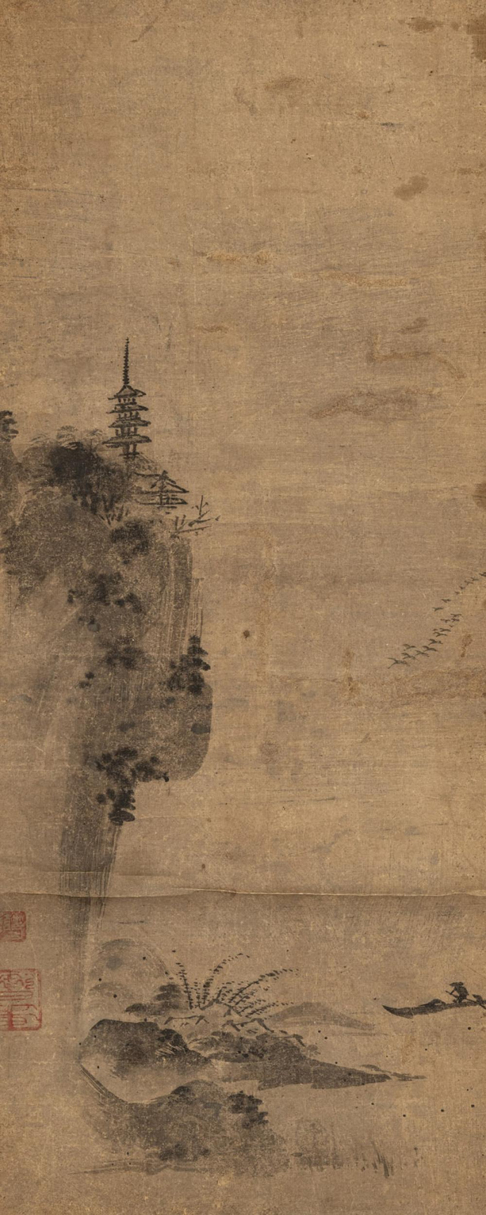 A HANGING SCROLL WITH A PAGODA IN A MOUNTAIN LANDSCAPE