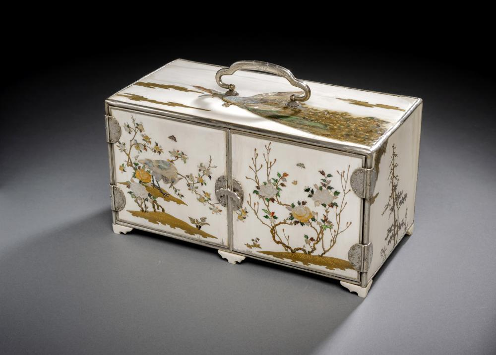 A SHIBAYAMA STYLE INLAID IVORY CABINET DECORATED WITH BIRDS AND FLOWERS CONTAINGING A SET OF SIX LACQUER DRAWERS
