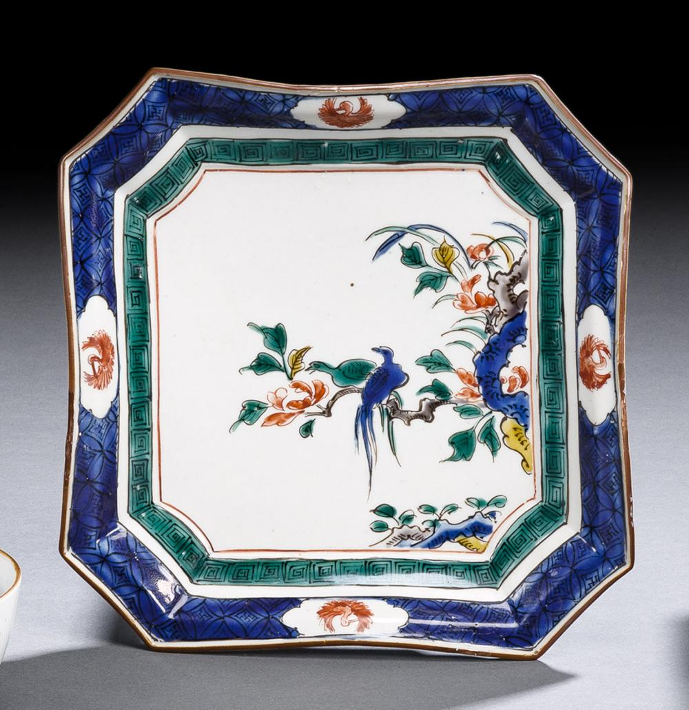 A KUTANI-PORCELAIN DISH DECORATED WITH TWO BIRDS PERCHED ON A BRANCH