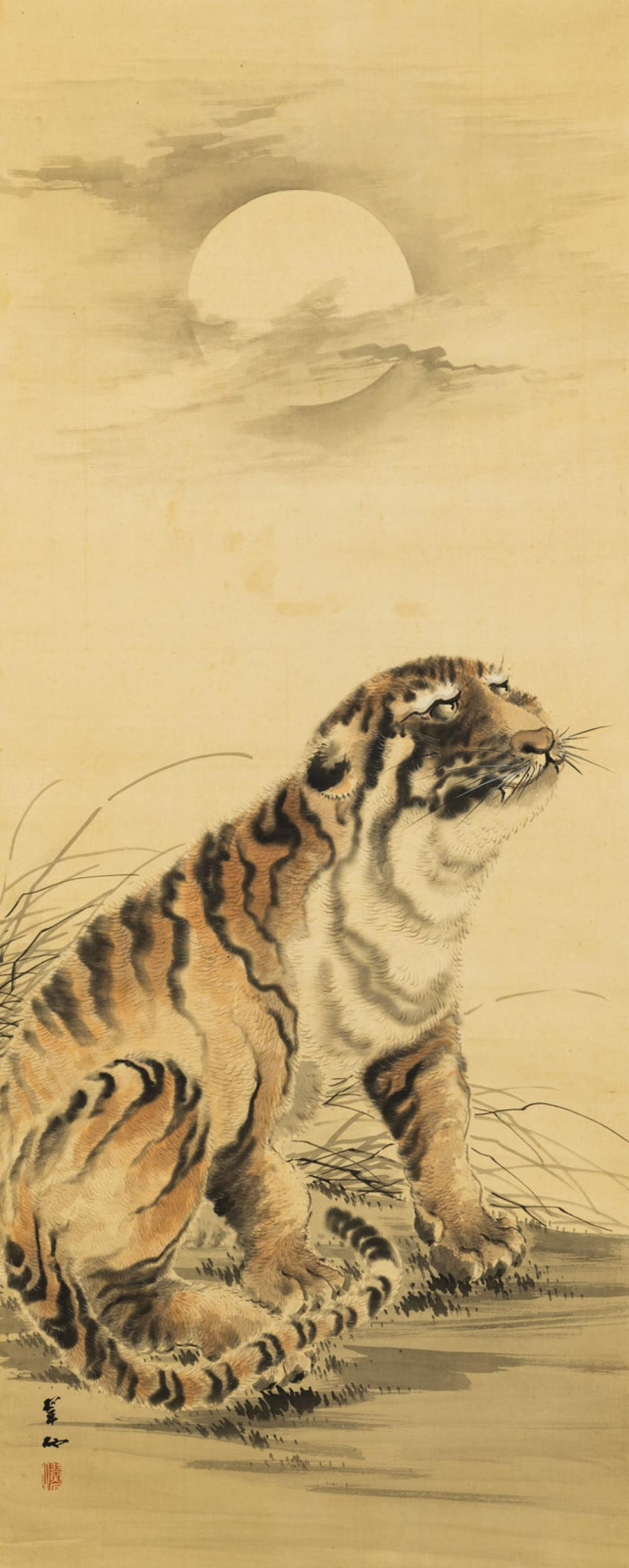 A HANGING SCROLL OF A TIGER UNDER A FULL MOON BY OHASHI SUISEKI (1865-1945),