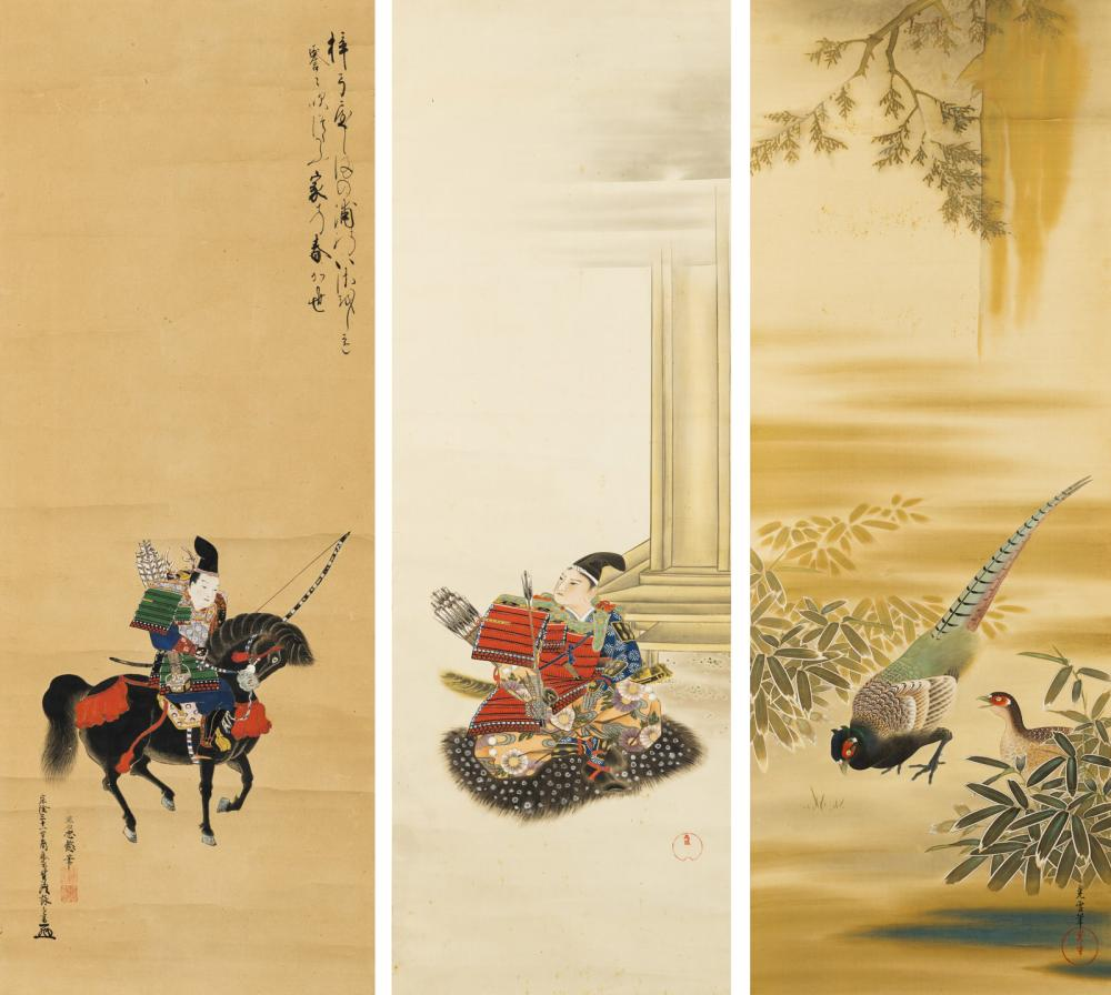 THREE HANGING SCROLLS WITH SAMURAI AND A PAIR OF PHEASANTS