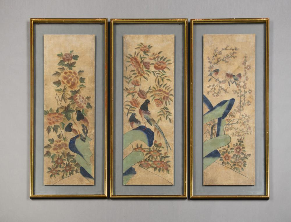 THREE PAINTINGS WITH FLOWERS AND BIRDS