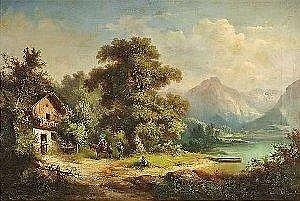 Hampe, Guido. Scene at Lake Geneva. Oil/canvas, signed and dated. 76 x 112 cm