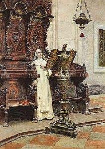 Cipriani, Nazzareno. Young nun in church. Watercolour and pencil/cardboard. 74x53cm,o.R.
