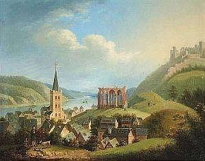 [ Old Master Paintings ] Bachta, Johann. View of Bacharach and the Rhine. Oil/canvas. 36 x 46 cm