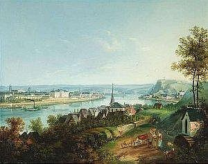 [ Old Master Paintings ] Bachta, Johann. View of Coblenz. Oil/canvas, signed and dated. 36 x 45,5 cm