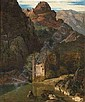 [ Old Master Paintings ] Schirmer, Johann Wilhelm. Mountainous landscape with a castle situated at a lake. Oil/canvas/canvas, signed 47 x 39 cm, Johann Wilhelm Schirmer, Click for value