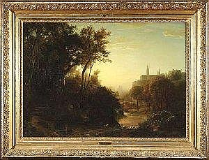 [ Old Master Paintings ] Schirmer, Johann Wilhelm. Landscape at early morning. Oil/canvas, signed. 109 x 157 cm