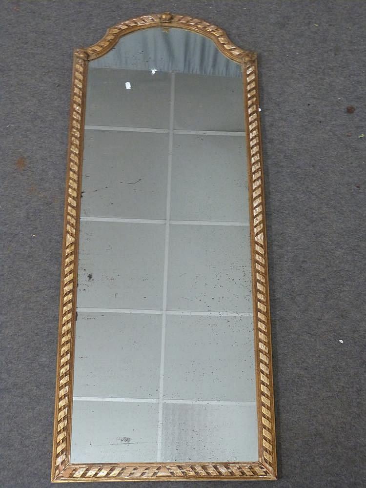 Miroir troit en bois dor orn de roses et rubans fronton - Miroir ancien bois dore ...