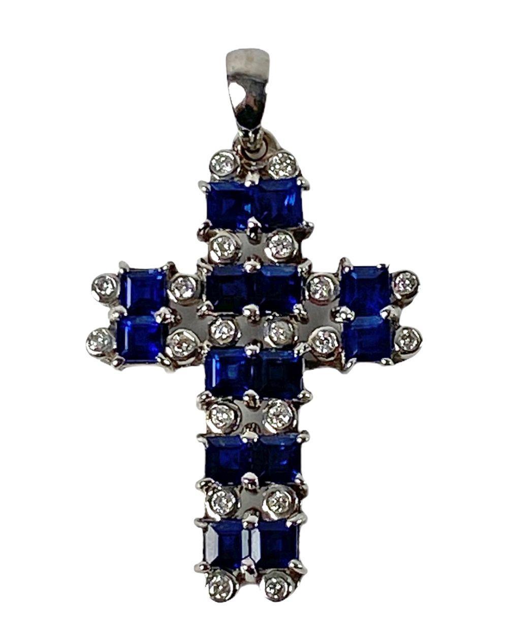18K White Gold, Sapphire & Diamond Cross Pendant