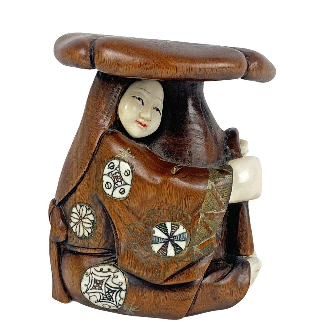 Antique Japanese Artist Signed Mushroom Lady