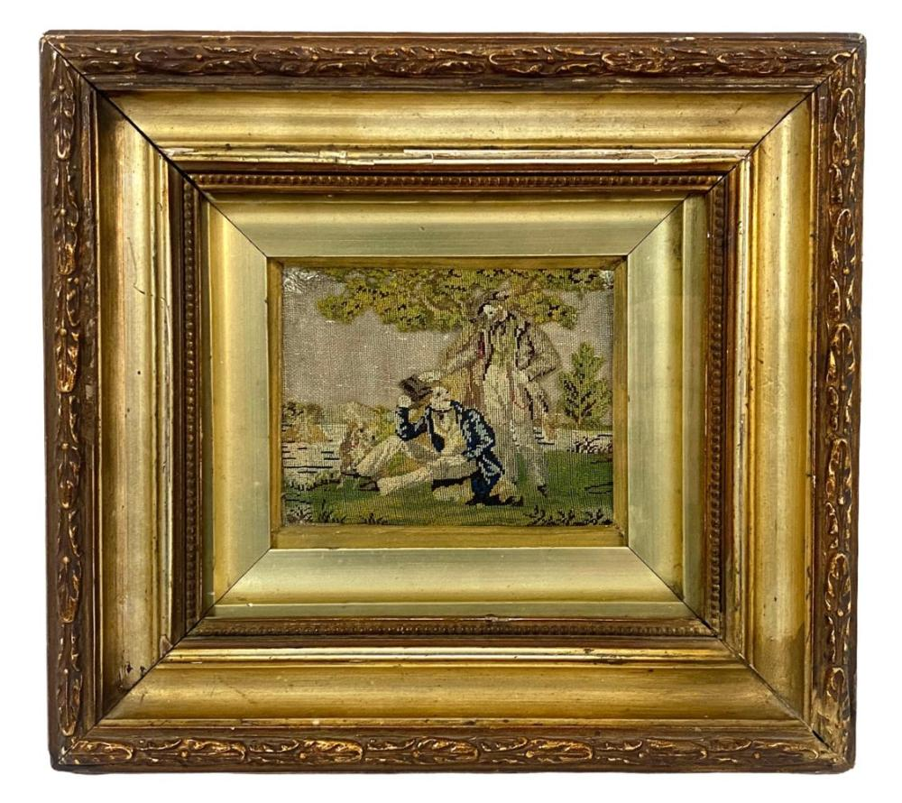Antique 19th C. Framed Needlepoint Tapestry