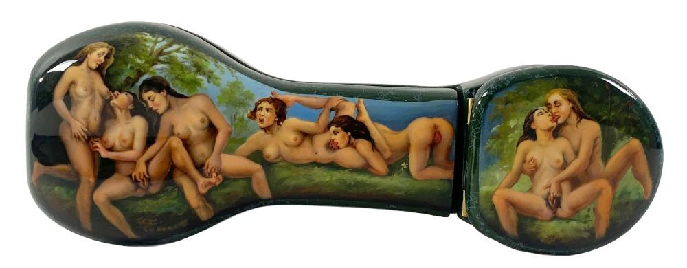 Russian Erotica Hand Painted Lacquer Box