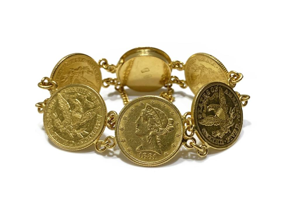 Sold Price 18k Gold Coin Medallion Bracelet November 3 0119 3 30 Pm Est