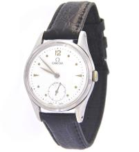 A rare OMEGA steel watch with black leather strap. Ref. 2503-9