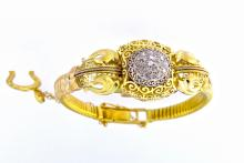 An antique 18k yellow gold lady bracelet-watch with old cut diamonds