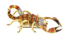 An 18k gold enamel scorpion pin with old cut diamonds