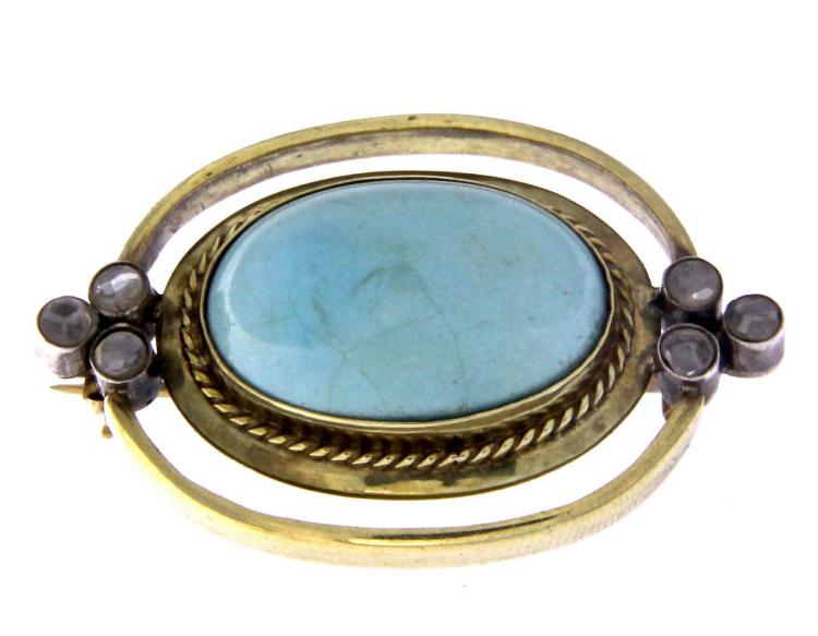 An antique 18k yellow gold,  turquoise and diamonds brooch