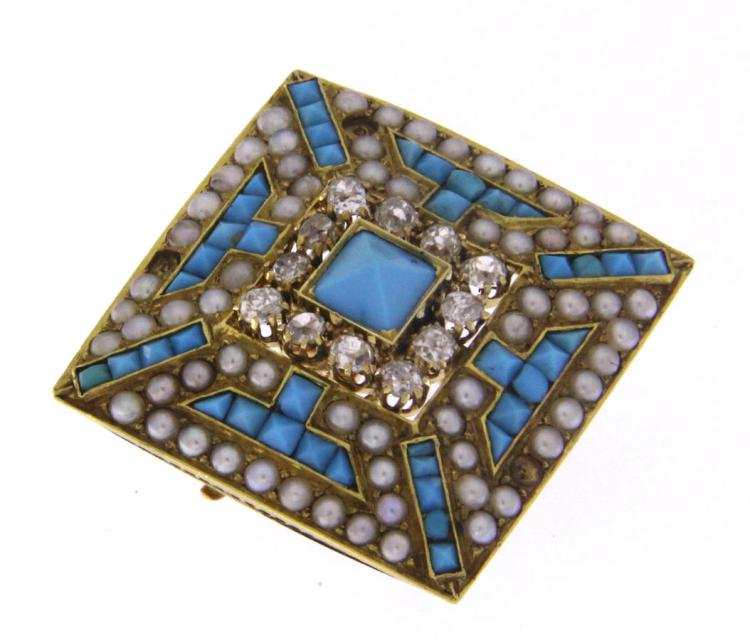 An antique 18k gold pyramidal brooch with turquoise, seed pearls and diamonds