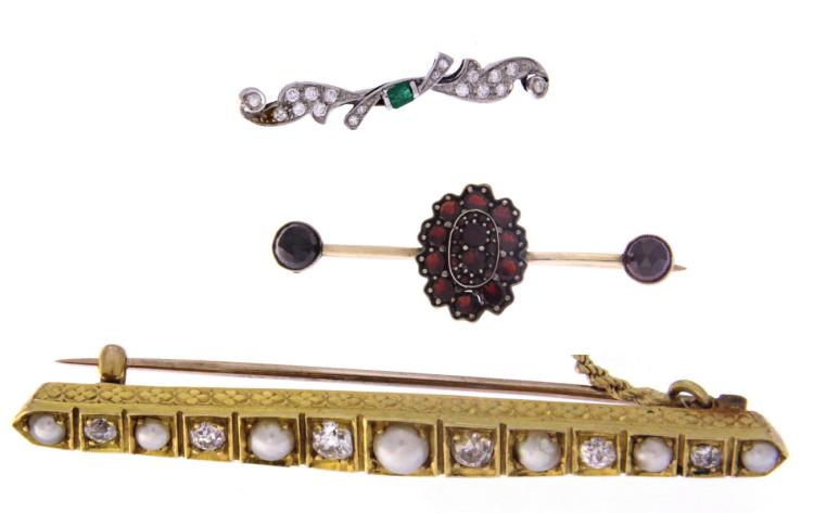 Three antique gold bar pins with pearls, diamonds., garnets, emerald and diamonds