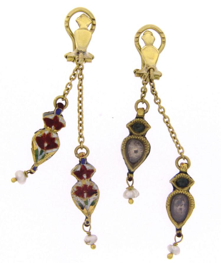 An 18k yellow gold enamel earclips with rose cut diamonds and pearls