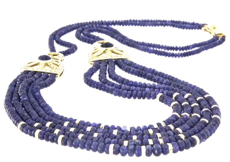 A sapphire bead necklace with18k yellow gold clasp and diamonds