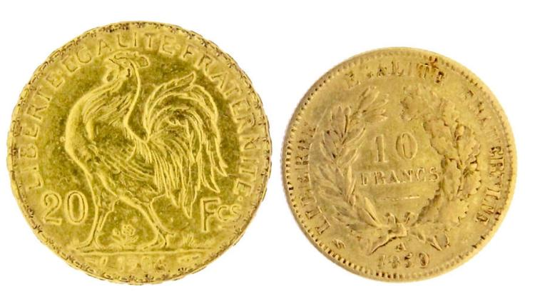 Two gold French coins, 20 and 10 francs
