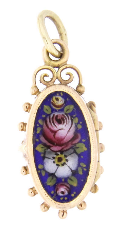 An antique 18k yellow gold enamel lock pendent with rose cut diamond and an hand made floral miniature
