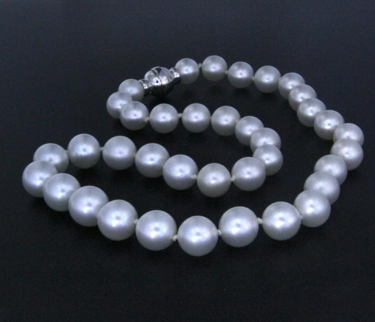 A South Sea pearl strand with 18k white gold clasp