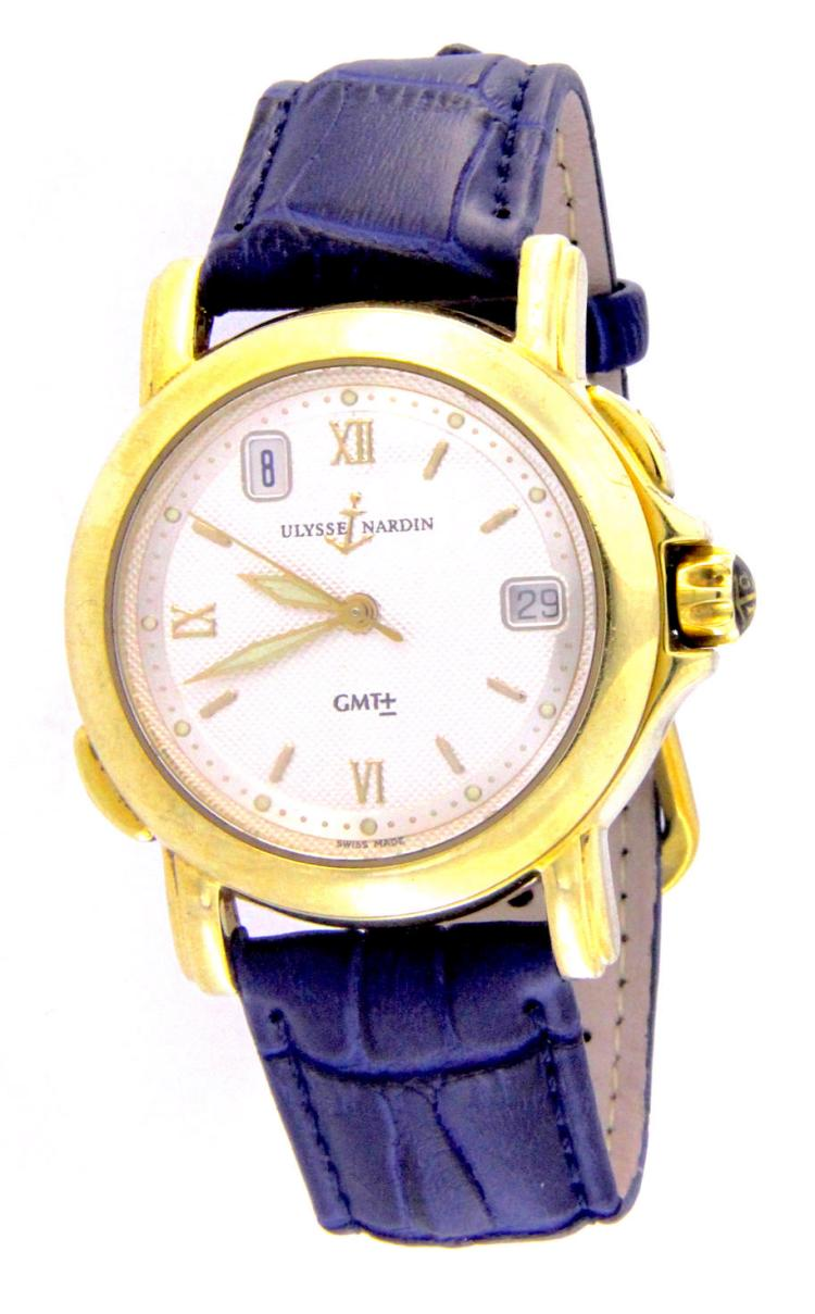 An 18k yellow gold watch ULYSSE NARDIN mod. SAN MARCO GMT ref.201-22