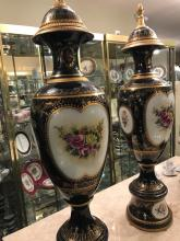 Pair of Porcelain and 24k Gold Gilded Bronze Vases