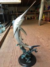 Large Dual Patinated Bronze Swordfish Statue