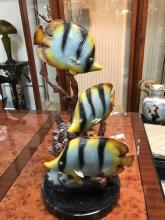 Bronze Statue of Angel Fish, Signed