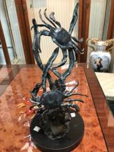 Bronze Statue of Two Crabs on Marble Base