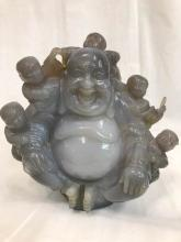 Hand-Carved Agate Laughing Buddha Statue