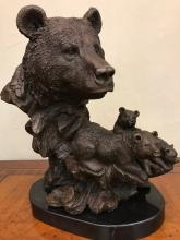 Bronze Bear Statue with Cubs, Signed by Frisher
