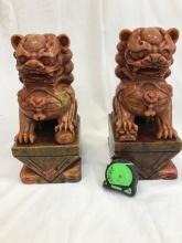 Pair of Blood Jade Foo Lions