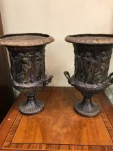 Pair of Vintage Bronze Planters w/ Dancing Women