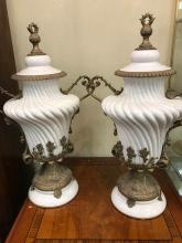 Pair of White Porcelain and Bronze Vases