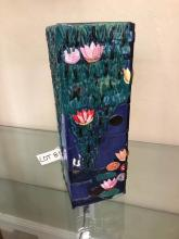 Italian Abstract Mosaic Glass Vase with Lillies