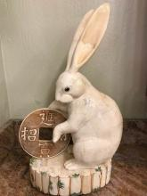 Finely Carved Lucky Rabbit with Coin Statue