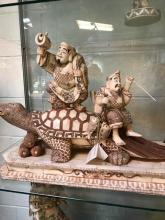 Finely Carved Statue of Fisherman and Turtle