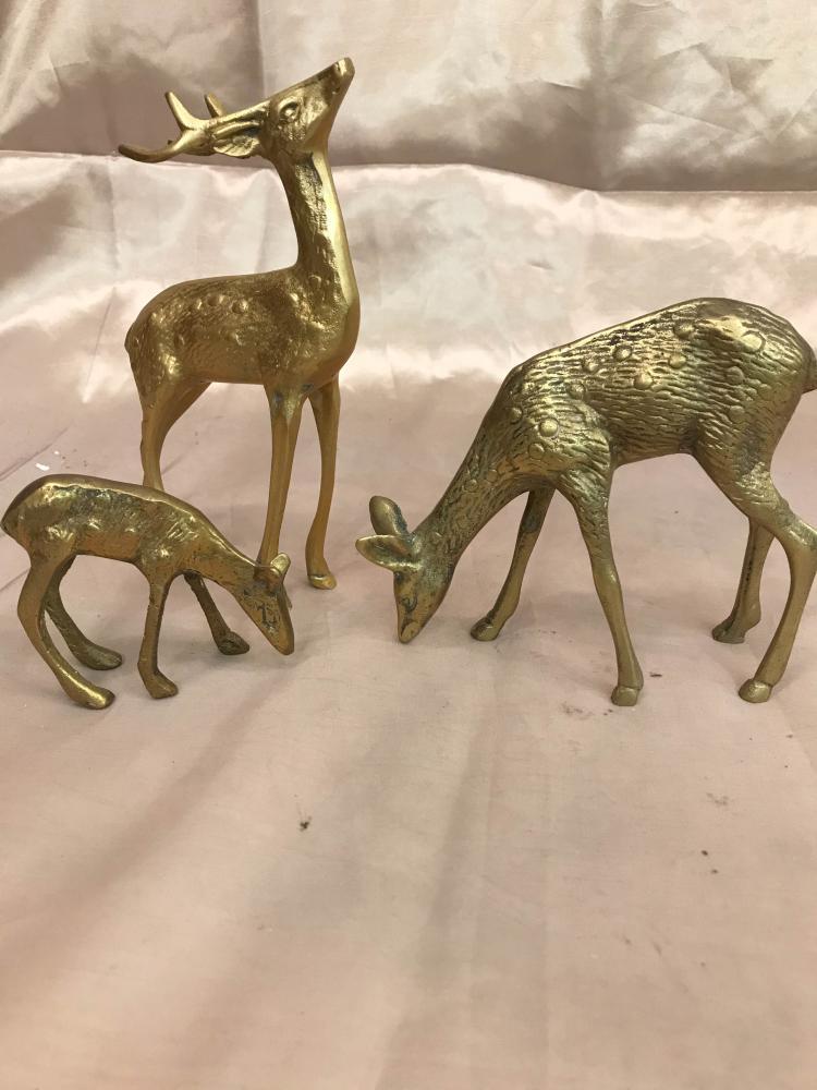 Set of 3 Miniature Bronze Deer Statues