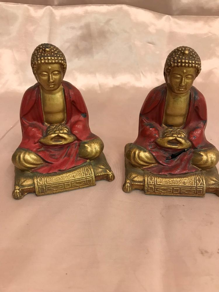 Miniature Pair of Bronze Monks Sitting