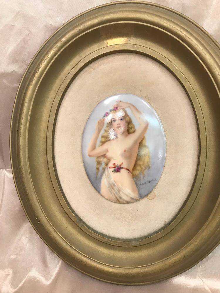 Porcelain Plaque of Nude Lady Signed by Essie Bouvier