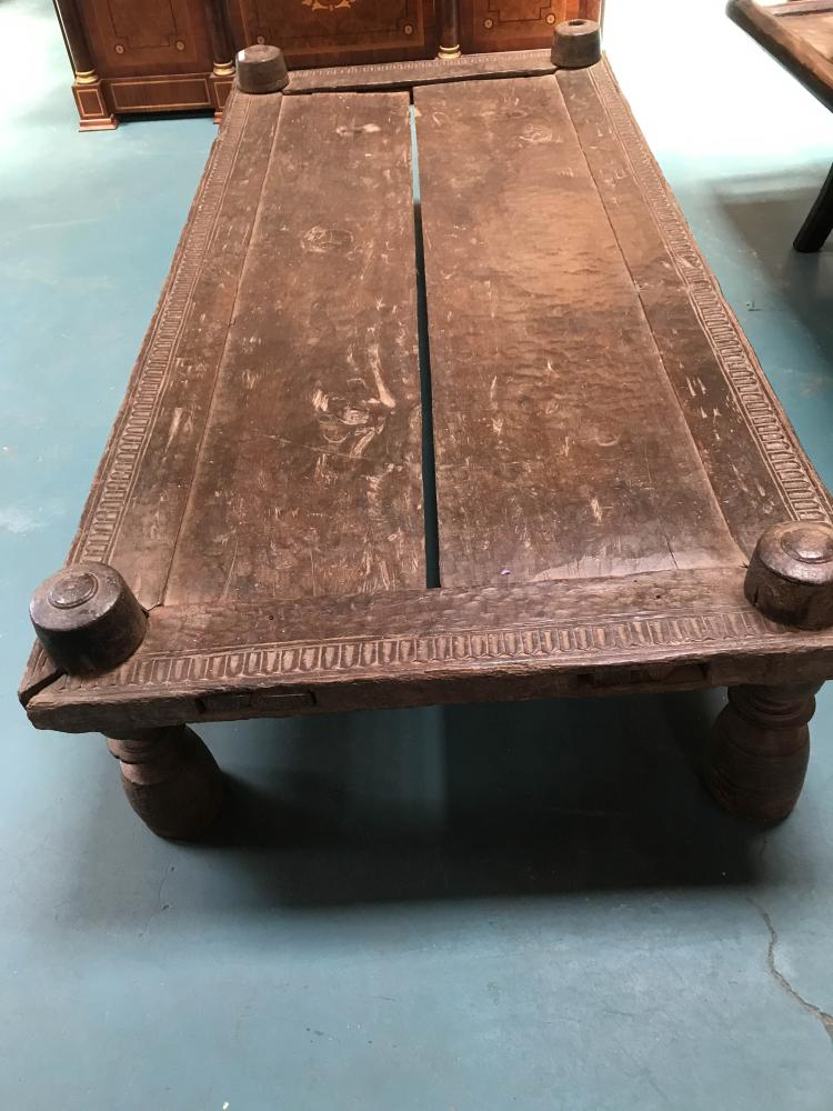 Teak carved bastar culture bed from india for South asian furniture