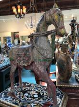 Rare Painted Teak Horse from India