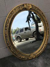 Beautiful Oval Mirror with Gilded Wooden Frame