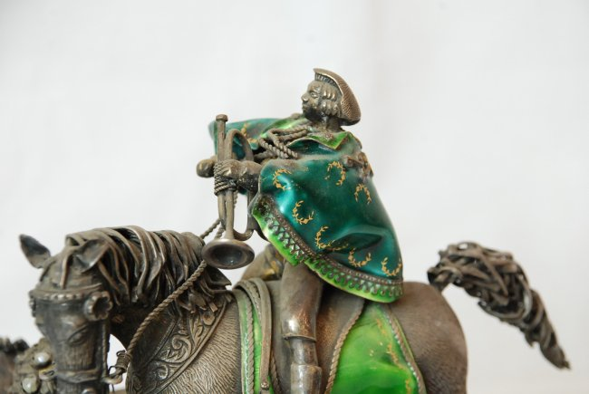 Rare and Unusual Russian Statue of Messenger w/ Pearls