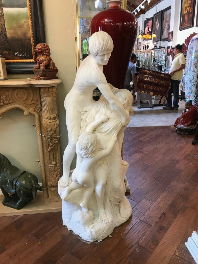 Carved White Marble Statue of Man, Woman and Child